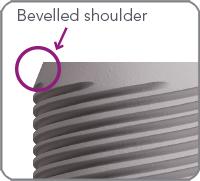 bevelled shoulder